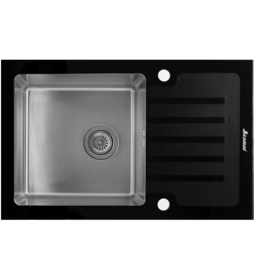Кухонная мойка Seaman Eco Glass SMG-780B, вентиль-автомат