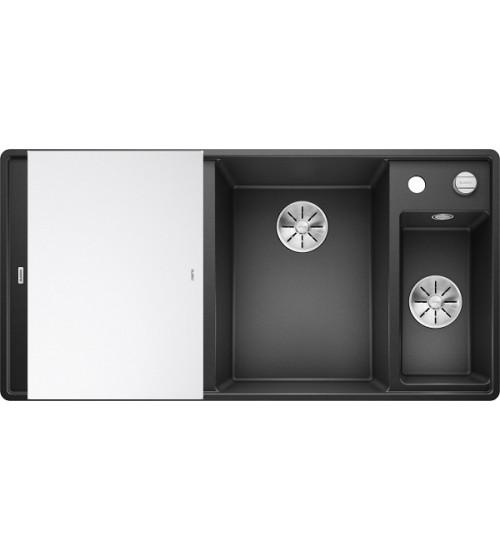Кухонная мойка Blanco Axia III 6 S-F Антрацит, стеклянная доска (чаша справа)