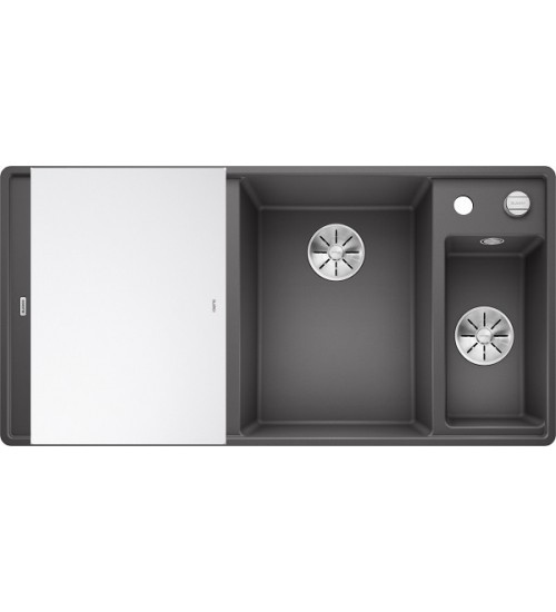 Кухонная мойка Blanco Axia III 6 S-F Темная скала, стеклянная доска (чаша справа)