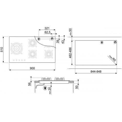 Встраиваемая газовая панель Smeg PV695LCNX