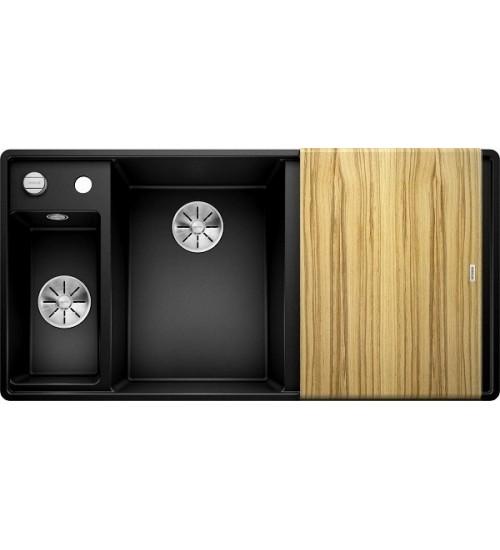 Кухонная мойка Blanco Axia III 6 S-F Черный, столик из ясеня (чаша слева)