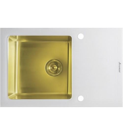 Кухонная мойка Seaman Eco Glass SMG-780W Gold (PVD), вентиль-автомат