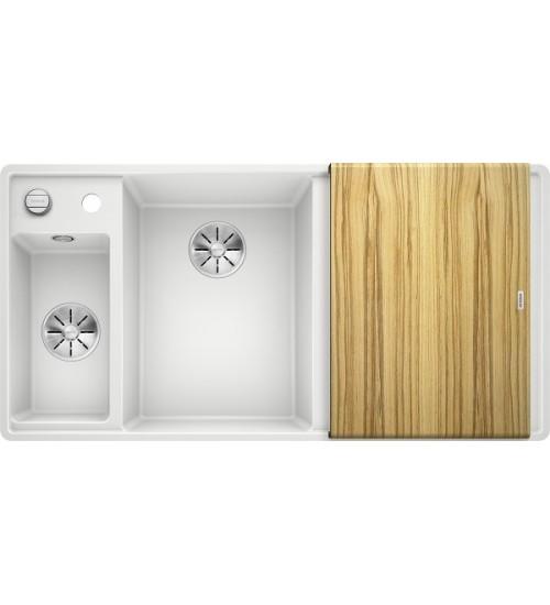 Кухонная мойка Blanco Axia III 6 S-F Белый, столик из ясеня (чаша слева)