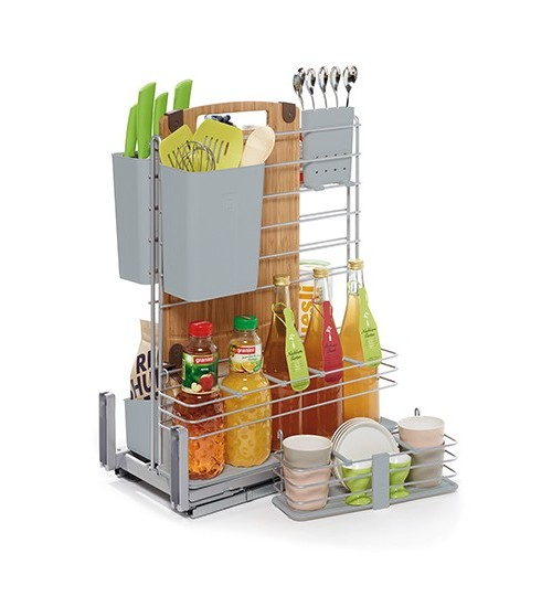 "Контейнер для кухонных предметов Kessebohmer ""Кукинг АГЕНТ"" отделка - титан вайд, фасад 400 мм"