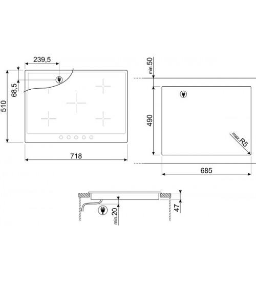 Встраиваемая электрическая панель Smeg P875PO