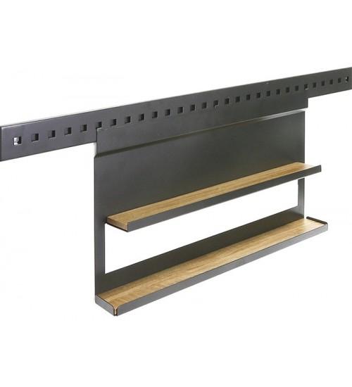 Полка для специй двухуровневая с вкладышем дуб Поконар 556х75х320 мм, отделка черный бархат (матовый) П-11.9005