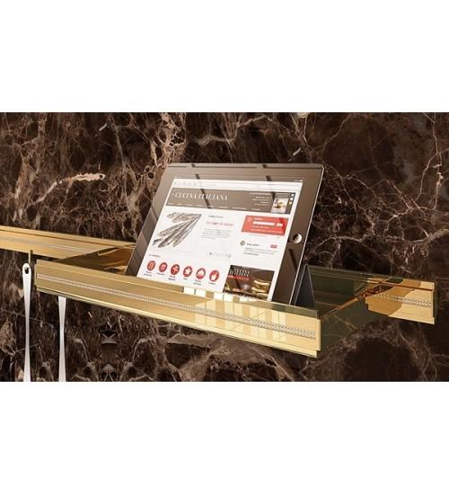 Полка для рейлинга Lemi Barra 70106 320х160 мм, золото + кристаллы Swarovski